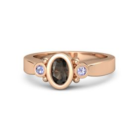 Oval Smoky Quartz 14K Rose Gold Ring with Tanzanite