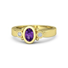 Oval Amethyst 14K Yellow Gold Ring with Diamond