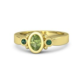 Oval Peridot 14K Yellow Gold Ring with Alexandrite