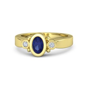 Oval Sapphire 14K Yellow Gold Ring with Diamond