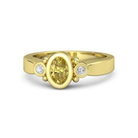 Oval Yellow Sapphire 14K Yellow Gold Ring with White Sapphire