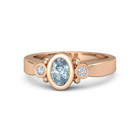 Oval Aquamarine 18K Rose Gold Ring with Diamond