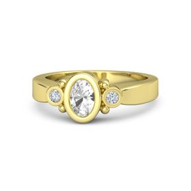 Oval Rock Crystal 18K Yellow Gold Ring with Diamond