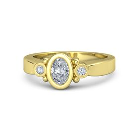 Oval Diamond 18K Yellow Gold Ring with Diamond