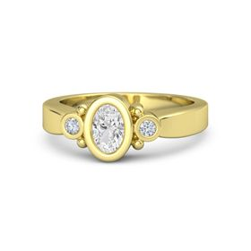 Oval White Sapphire 18K Yellow Gold Ring with Diamond