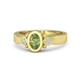Oval Peridot 18K Yellow Gold Ring with Diamond