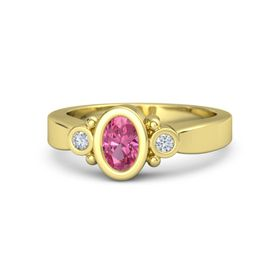 Oval Pink Tourmaline 18K Yellow Gold Ring with Diamond