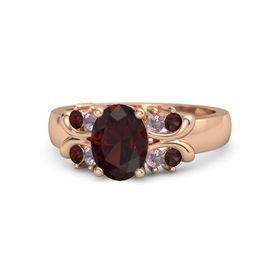 Oval Red Garnet 14K Rose Gold Ring with Rhodolite Garnet and Red Garnet