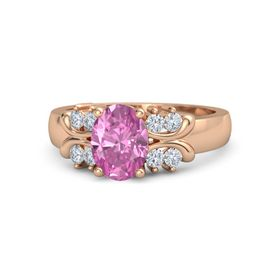 Oval Pink Sapphire 14K Rose Gold Ring with Diamond