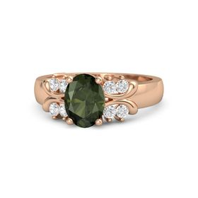 Oval Green Tourmaline 14K Rose Gold Ring with White Sapphire
