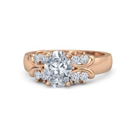 Oval Moissanite 14K Rose Gold Ring with Diamond