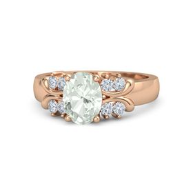 Oval Green Amethyst 14K Rose Gold Ring with Diamond