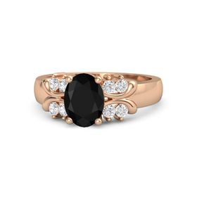 Oval Black Onyx 14K Rose Gold Ring with White Sapphire