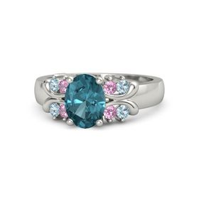 Oval London Blue Topaz 14K White Gold Ring with Pink Tourmaline and Aquamarine