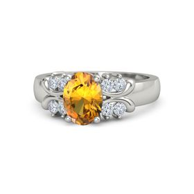 Oval Citrine 14K White Gold Ring with Diamond