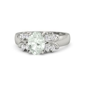 Oval Green Amethyst 14K White Gold Ring with White Sapphire