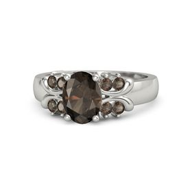 Oval Smoky Quartz 14K White Gold Ring with Smoky Quartz