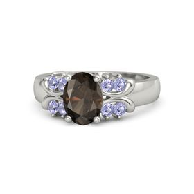 Oval Smoky Quartz 14K White Gold Ring with Tanzanite