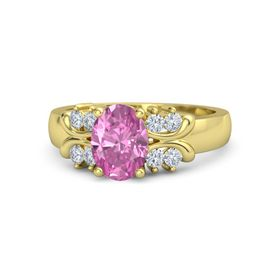 Oval Pink Sapphire 14K Yellow Gold Ring with Diamond