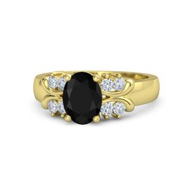 Oval Black Onyx 14K Yellow Gold Ring with Diamond