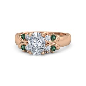 Oval Diamond 18K Rose Gold Ring with Diamond and Alexandrite