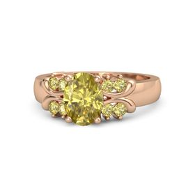 Oval Yellow Sapphire 18K Rose Gold Ring with Yellow Sapphire