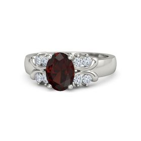 Oval Red Garnet 18K White Gold Ring with Diamond