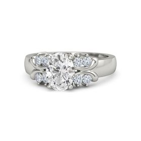Oval White Sapphire 18K White Gold Ring with Diamond