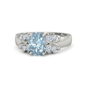 Oval Aquamarine 18K White Gold Ring with Diamond