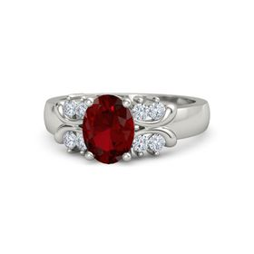 Oval Ruby 18K White Gold Ring with Diamond