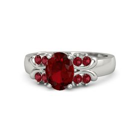 Oval Ruby 18K White Gold Ring with Ruby