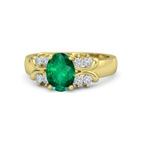 Oval Emerald 18K Yellow Gold Ring with Diamond