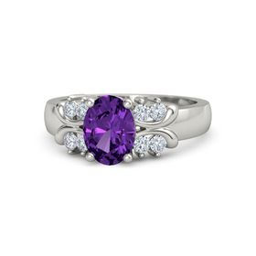 Oval Amethyst Palladium Ring with Diamond