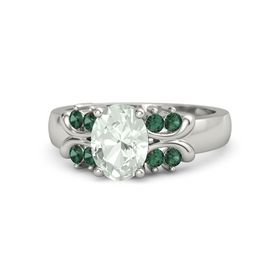 Oval Green Amethyst Palladium Ring with Alexandrite