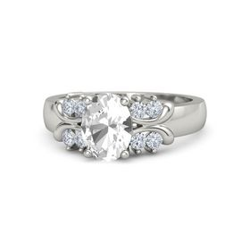 Oval Rock Crystal Platinum Ring with Diamond