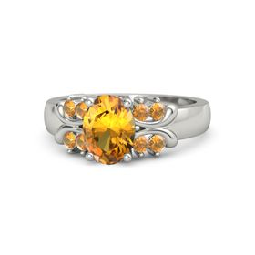 Oval Citrine Platinum Ring with Citrine