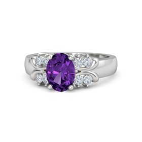 Oval Amethyst Sterling Silver Ring with Diamond