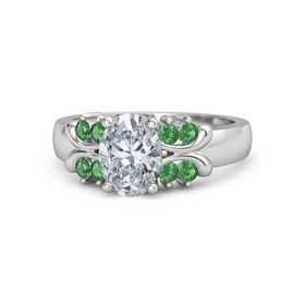Oval Moissanite Sterling Silver Ring with Emerald
