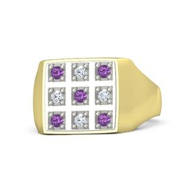 14K Yellow Gold Ring with Amethyst and Diamond