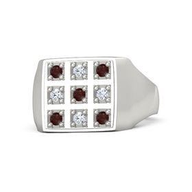 Men's Platinum Ring with Red Garnet & Diamond