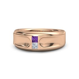 14K Rose Gold Ring with Amethyst and Diamond