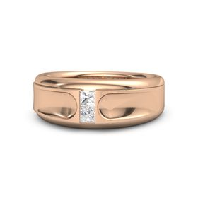 Men's 14K Rose Gold Ring with Rock Crystal & White Sapphire