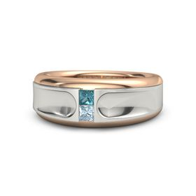 18K Rose Gold Ring with London Blue Topaz and Aquamarine