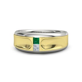 Men's 18K White Gold Ring with Emerald & Diamond