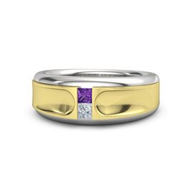 Men's Sterling Silver Ring with Amethyst & Diamond