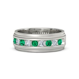 14K White Gold Ring with Emerald and Diamond