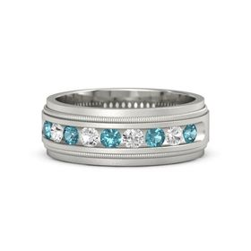 Palladium Ring with London Blue Topaz and White Sapphire