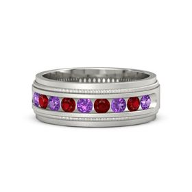 Men's Palladium Ring with Amethyst & Ruby