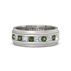 Men's Palladium Ring with Green Tourmaline & Diamond