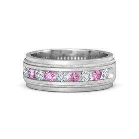 Men's Sterling Silver Ring with Diamond & Pink Sapphire